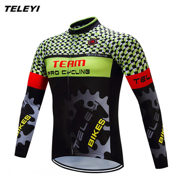 e7f620e99 2017 TELEYI Green Gear Bike Long jersey Men Cycling clothing Spring Autumn Male  MTB Ropa Ciclismo Wear Maillot Long Sleeve Shirt