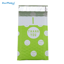 10pcs Poly Bubble Mailers 120*180mm Bubble Envelopes Green and Pink Creative Dot THANK YOU Pattern Bubble Lined Poly Mailer(China)