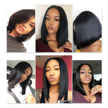 Short Lace Front Human Hair Wigs Peruvian Remy Hair Bob Wig with Pre Plucked Hairline with baby hair Free Shipping