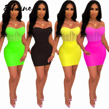 Echoine Sexy Spaghetti Straps Sheer Mesh See Through Two Piece Set Women Bodycon Bodysuit Midi Skirt Night Club Suits Outfits(China)