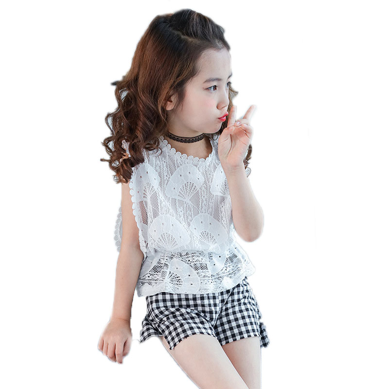 kids clothes summer 2018 girls suit sets top sleeveless lace tshirt+plaid shorts 2pcs girls clothes sets 4-13T children outfits