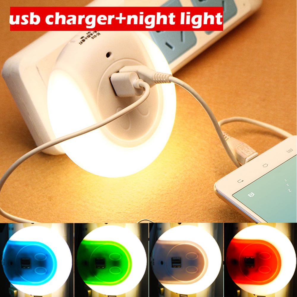 On Off Auto Led Night Light With Usb Charging Port Multifunction Wall Lights Auto Light Sensor