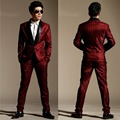 2016 men new style red stripe business suits male singer outfit ds costume slim gentleman ds dj suit blazers pants clothing set
