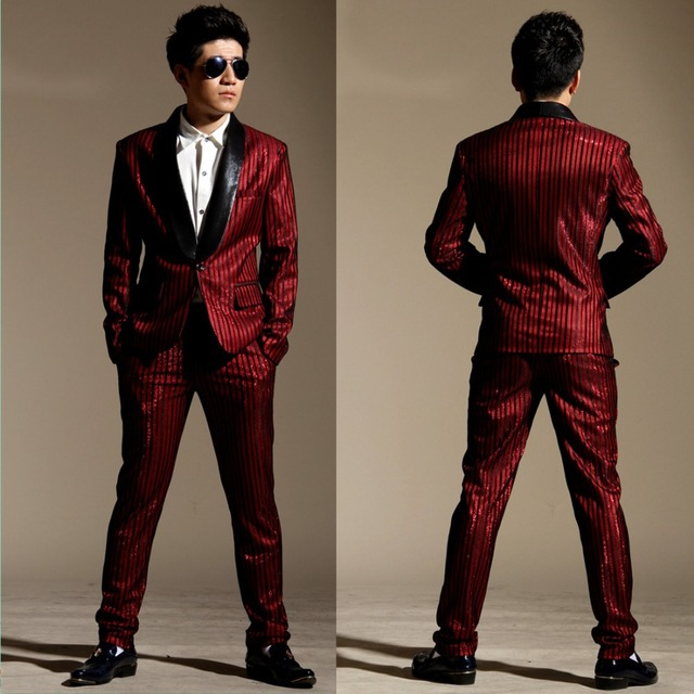 2016 men new style red stripe business suits male singer outfit ds costume  slim gentleman ds 20f9d280155c