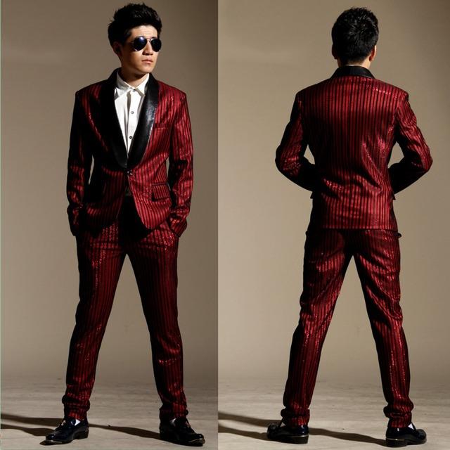 2016 ternos de negócio dos homens novo estilo de tarja vermelha macho cantor outfit ds dj traje ds fino cavalheiro terno blazers calças conjunto de roupas