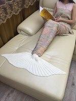 Ekose Mermaid Battaniye Iplik Örme Mermaid Kuyruk Battaniye Yetişkin El Yapımı Tığ Yumuşak Ev Kanepe Uyku Tulumu Yetişkin Uyku Atın