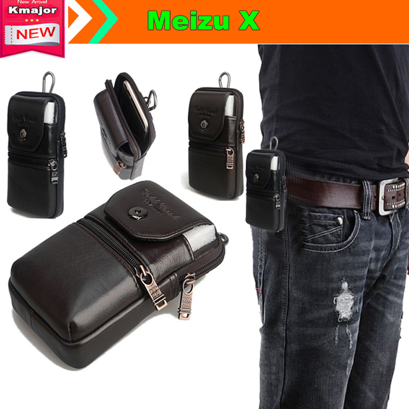Genuine Leather Carry Belt Clip Pouch Waist Purse Case Cover for Meizu <font><b>X</b></font> 5.5inch Phone Free Drop Shipping