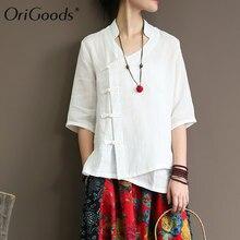 4060ba0dda2 OriGoods Chinese style Solid White Shirt Blouse Women Ramie Vintage  Original design Summer Blouse Shirt Women Tops Blusas A334