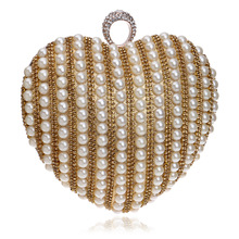 New Arrival Fashion Flap Hard Day Clutches Pearl Heart-shaped Wedding Dress Evening Bags Handbag Lady Shoulder Bag Handbags