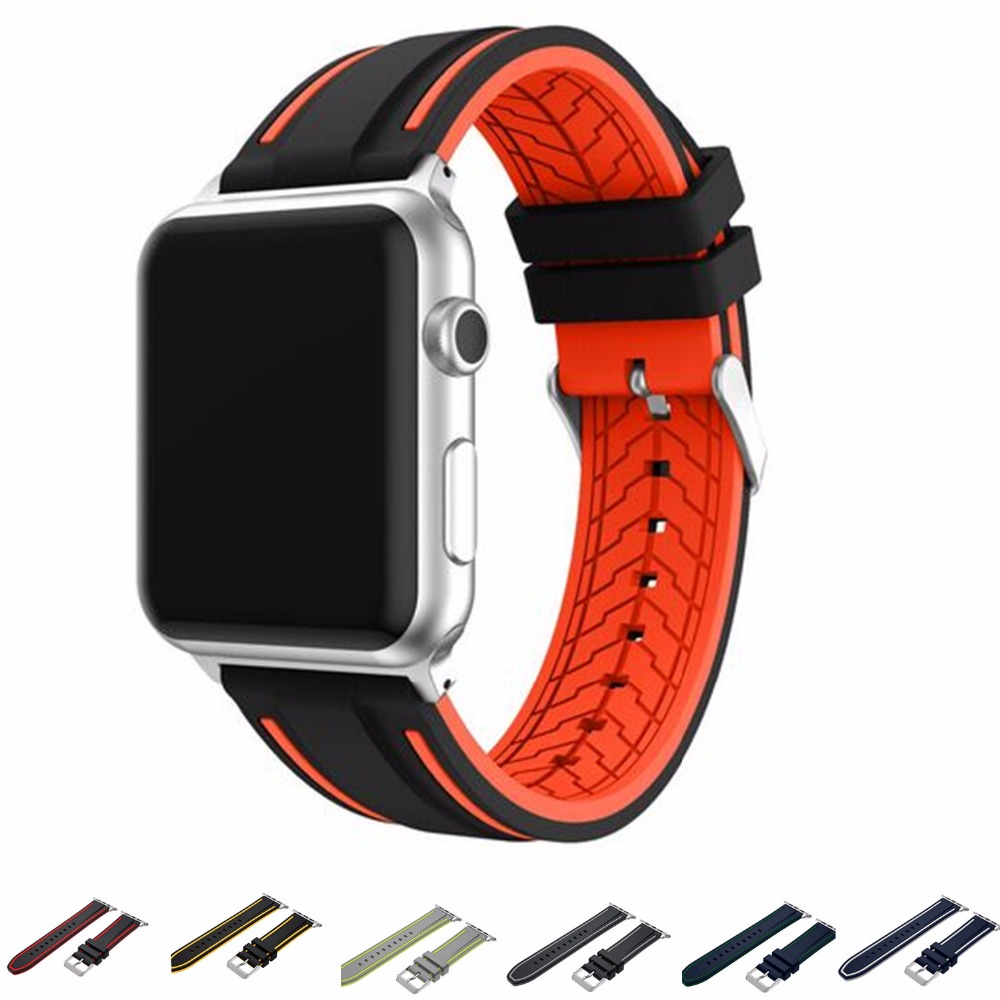 Sport Colorful Silicone Watch Band For Apple Watch Band 42mm 38mm Buckle Bracelet Series 1 2