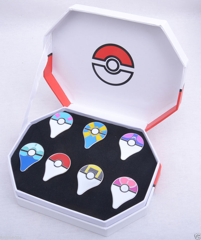 Pokemon GO Pokeball Pins Badges 7pcs Set Of Box