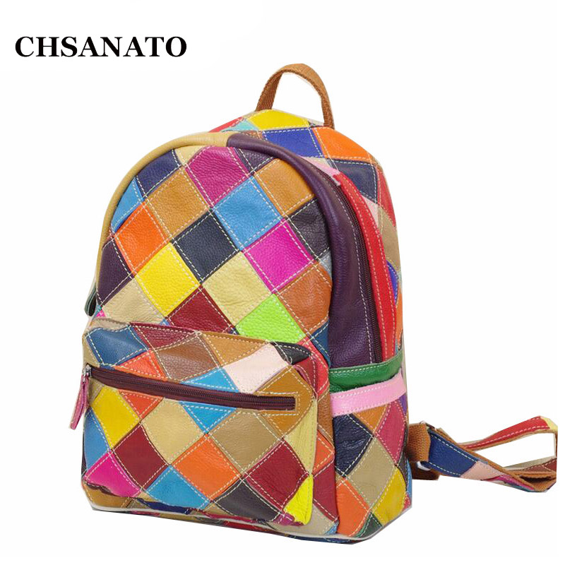 CHSANATO New Genuine Leather backpack women travel backpacks school bags backpacks free shipping K665