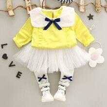 Autumn Baby Girls Long Sleeve Doll Collar Bow Blouse + Mesh Tutu Leggings Skinny Pant 2Pcs Suits Kids Clothing Sets