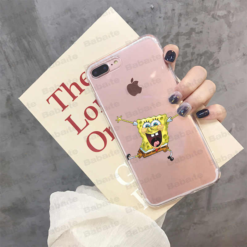 Cubierta inteligente de Babaite SpongeBob funda de teléfono suave transparente para iPhone X XS MAX 6 6s 7 7plus 8 8Plus 5 5S SE XR