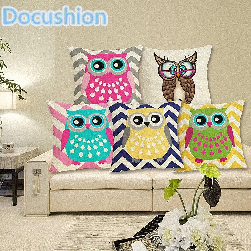 Cute Cartoon Cushion Owl Printed Cushion Cover Home Decorative Pillowcase Sofa Cushion Case Linen Pillow Cover Almofadas