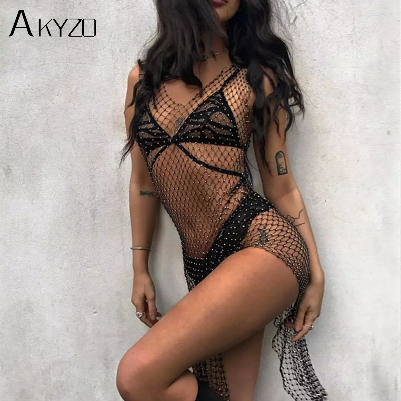 AKYZO Women Rhinestone Hollow out Mesh Dress Female Sexy Black Split Hip See Through Slim Fishnet Club Party Tank Dress