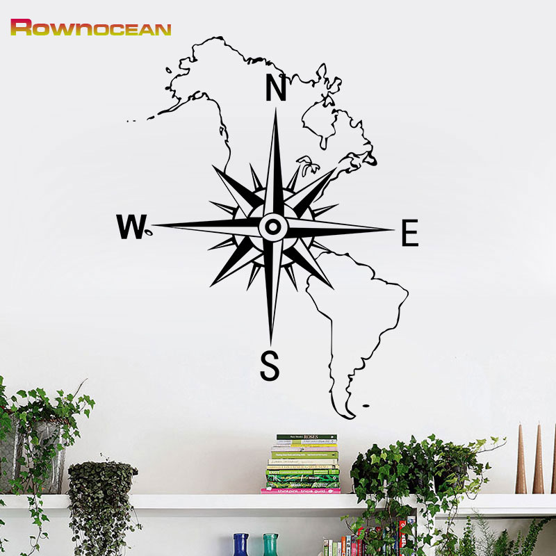 Mapa Mundi Compass Nautical Home Decor Art Veggmalerier Vinilos Infantiles Vanntett for barn Rom Soverom Stue C-08