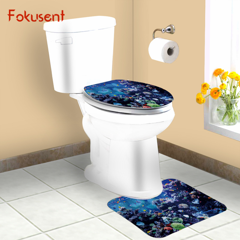 FOKUSENT Bath Mat Pedestal Rug Printed Tropical Coral Reef Fish Dolphin Sea  Lion Toilet Seat CoverPopular Dolphin Toilet Seat Buy Cheap Dolphin Toilet Seat lots  . Tropical Fish Toilet Seat. Home Design Ideas