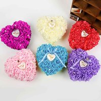 Romantic Heart-shaped Wedding Ring Pillow Rose Wedding Favors Ring Box Jewelry Box Wedding Supplies