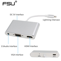 2017 Latest New Silver Aluminium Alloy Light Ning To Hdmi Vga Audio Adapter For Iphone5s 6