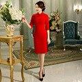 Vermelho de lã das mulheres do vintage curto cheongsam moda estilo chinês qipao dress elegante tamanho m l xl xxl xxxl f092810