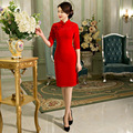 red  Vintage Women's Wool Short Cheongsam Fashion Chinese Style Dress Elegant Qipao Size M L XL XXL XXXL F092810