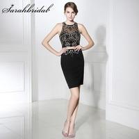 Дешевые настоящая фотография маленькие черные платья пикантные кристаллы Illusion оболочка с блестками Для женщин Короткие Коктейльные Вечер