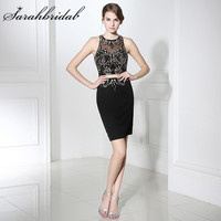 Cheap Real Photo Little Black Dresses 2017 Sexy Illusion Crystals Sheath with Sequins Women Short Cocktail Party Gowns LX300