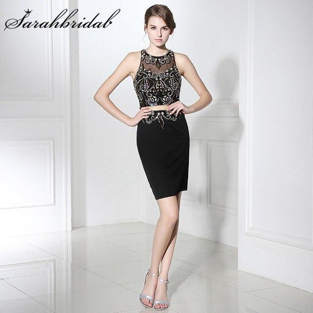 Foto Real barata vestidos negro hot Sexy ilusión cristales vaina con  lentejuelas mujeres vestidos de fiesta 52132048c195