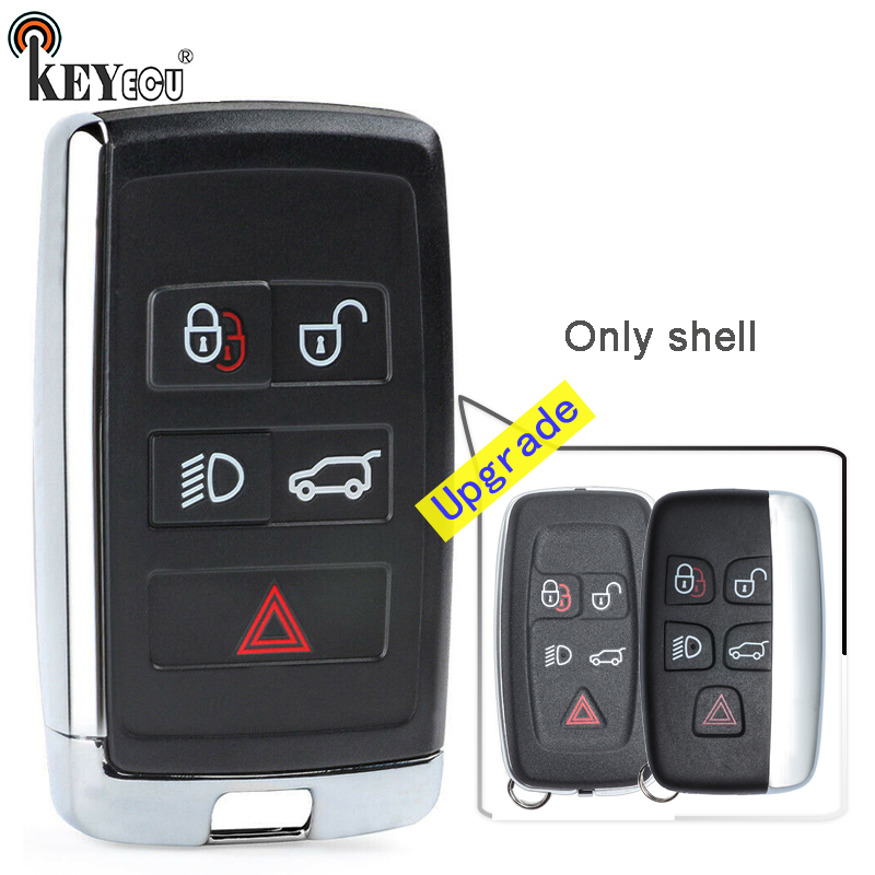 KEYECU  for Land Rover Range Rover Evoque LR2 F-Type XF Replacement 4+1 5 Button Upgraded Remote Car Key Shell Case Fob