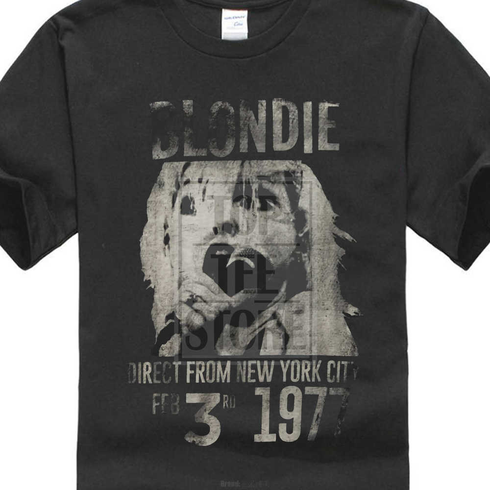 Blondie ผู้ชาย Blondie 1977 T เสื้อสีดำ