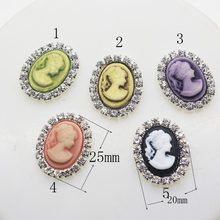 10pcs/lot 13*18mm Resin beauty Rhinestone button/artificial crystal hair accessory wedding decoration.(China)