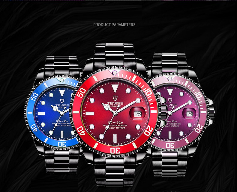 1TEVISE Red Watch Men Creative Luminous Watches Date Waterproof Clock Man Blue Automatic Watch Purple Mechanical Wristwatches (12)