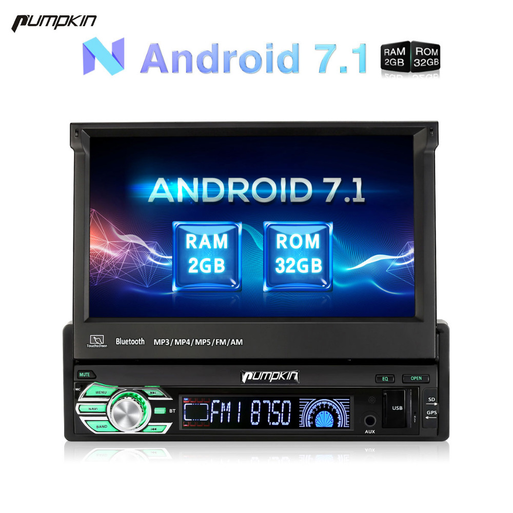 Pumpkin 1 Din 7'' Android 7.1 Car Radio No DVD Player GPS Navigation Bluetooth DAB+ Car Stereo 2GB RAM FM Rds Wifi 3G Headunit