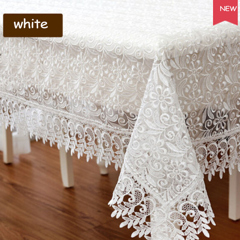 Europe Style Embroidered Mulit Size Tablecloth Lace Rectangle Round Table  Cloth Luxury Floral Home Hotel Wedding