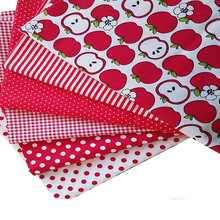 6PC  Red Apple Striped Dot Cotton Fabrics Patchwork Sewing Tilda Dolls Telas 40cm*50cm