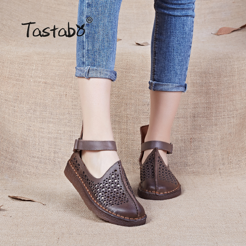 Summer Shoes Women Handmade Women S Shoe Genuine Leather Flats For Women Comfortable Driving Shoes Hollow
