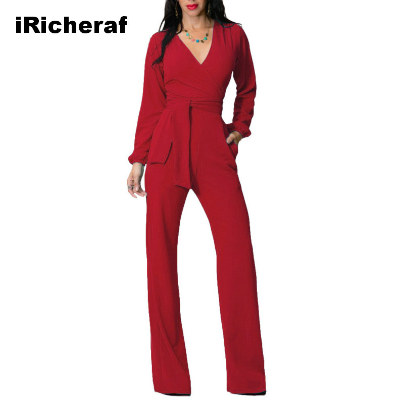 iRicheraf Womens Jumpsuit Winter Autumn Party Sexy Jumpsuits Pants V-neck Sashes Full Sleeve Fashion Loose Overalls Long Rompers