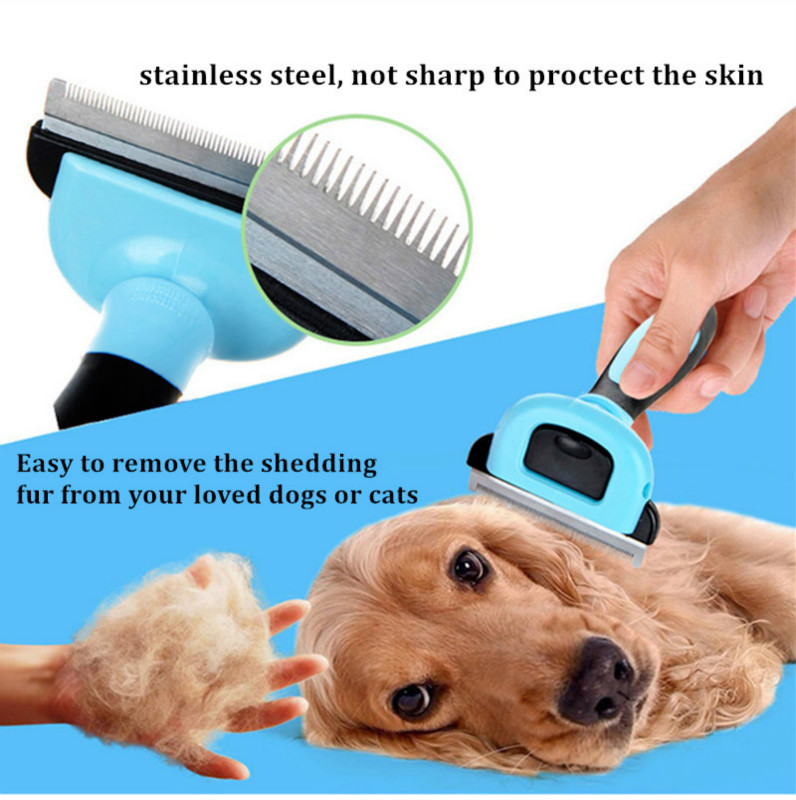 2 Color Pet Dog Cats Hair Grooming Brush Pet Dog Shedding Comb Trimmer Puppy Kitten Hair Clipper Comb Removing Shedding Fur 3