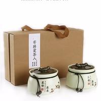 2 Piece Pot Set Ceramic Decorative Tea Leaf Pot Box Bottle Storage Home Decoration Accessories as Birthday Gift