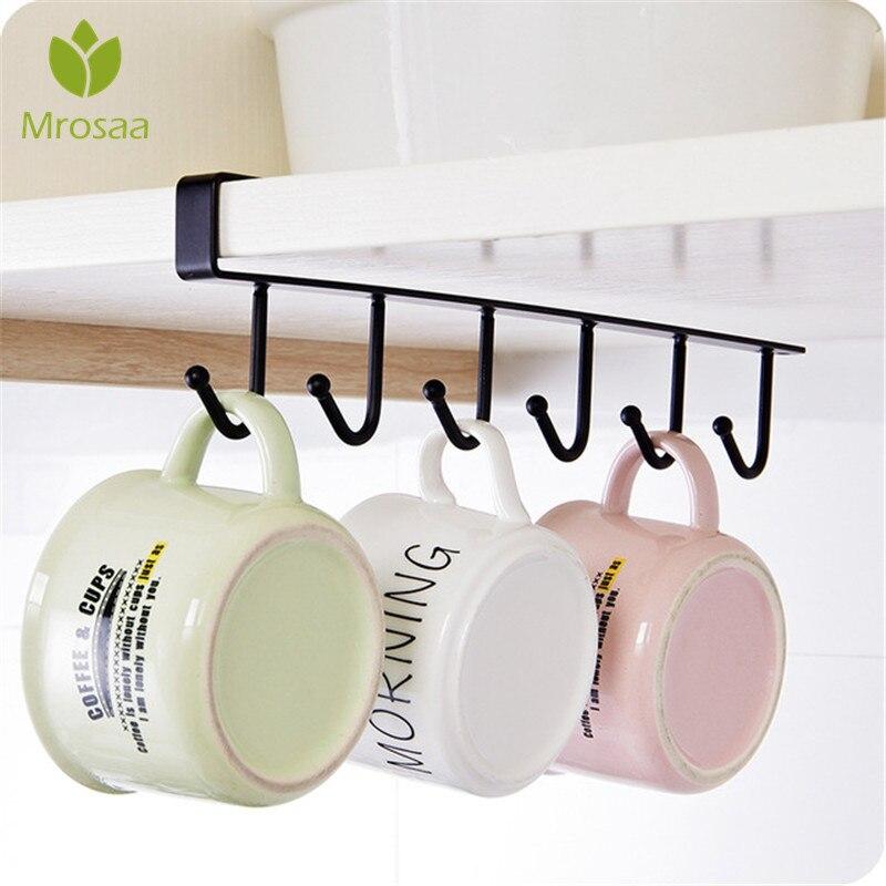 Mrosaa Top Sale  Iron Kitchen Storage Rack Cupboard Hanging Hook Shelf Dish Hanger Chest Storage Shelf Bathroom Organizer Holder