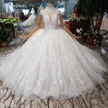 d78c827452 2019 luksusowa suknia balowa suknie ślubne krótkie rękawy wysoka neck  aplikacje lace up suknia ślubna księżniczki z długim trene.