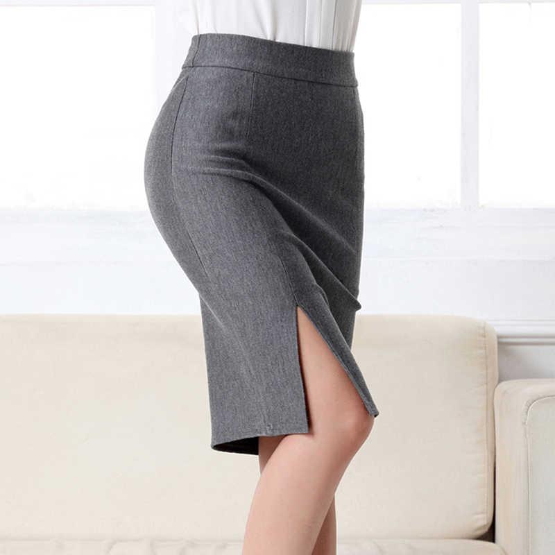 Новые женские юбки-карандаш для работы, офиса, тонкая элегантная Юбка-миди с разрезом спереди, высокая талия, облегающие OL модные юбки, черный, серый, красный, синий