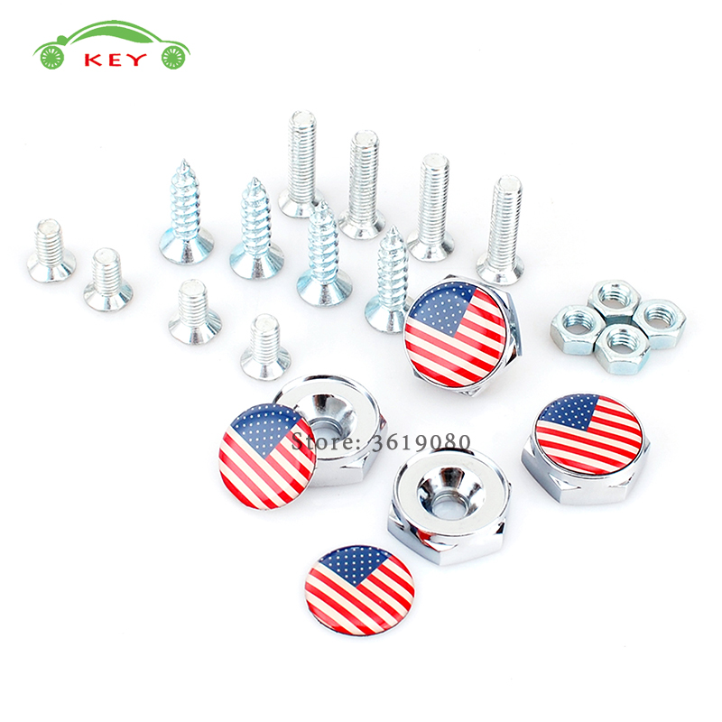 Car Styling License Plate Frame Screws for Flag of the USA Logo Auto License Plate Bolts for Land Rover Jaguar Volvo Ford Honda