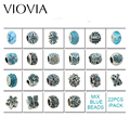 VIOVIA 22 Pcs Mixed Color silver plated Beads Charms Fit Pandora Jewelry Bracelet For Jewelry Handmade