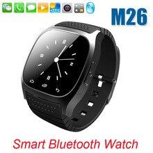 Heiße sport bluetooth smart watch luxus armbanduhr m26-uhr smartwatch mit zifferblatt sms erinnern pedometer für ios android samsung telefon