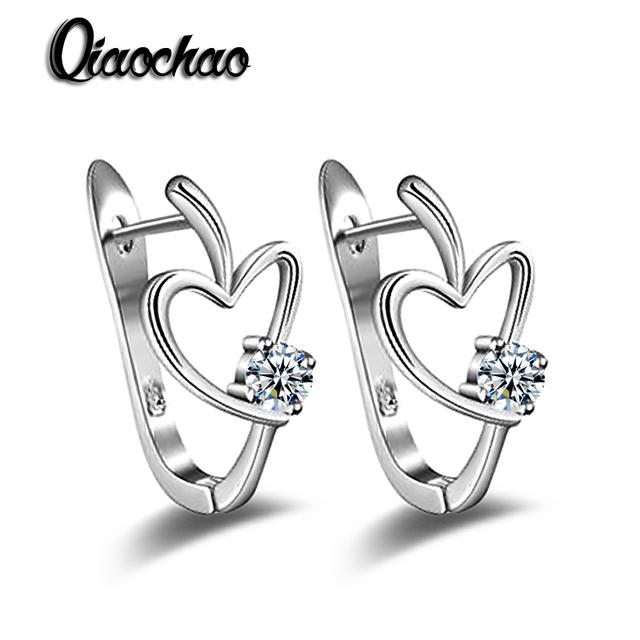 Envío Gratis 1 par Para Mujer Moda en forma de Corazón del aro pendientes de Joyería de moda Zircon Claro E372