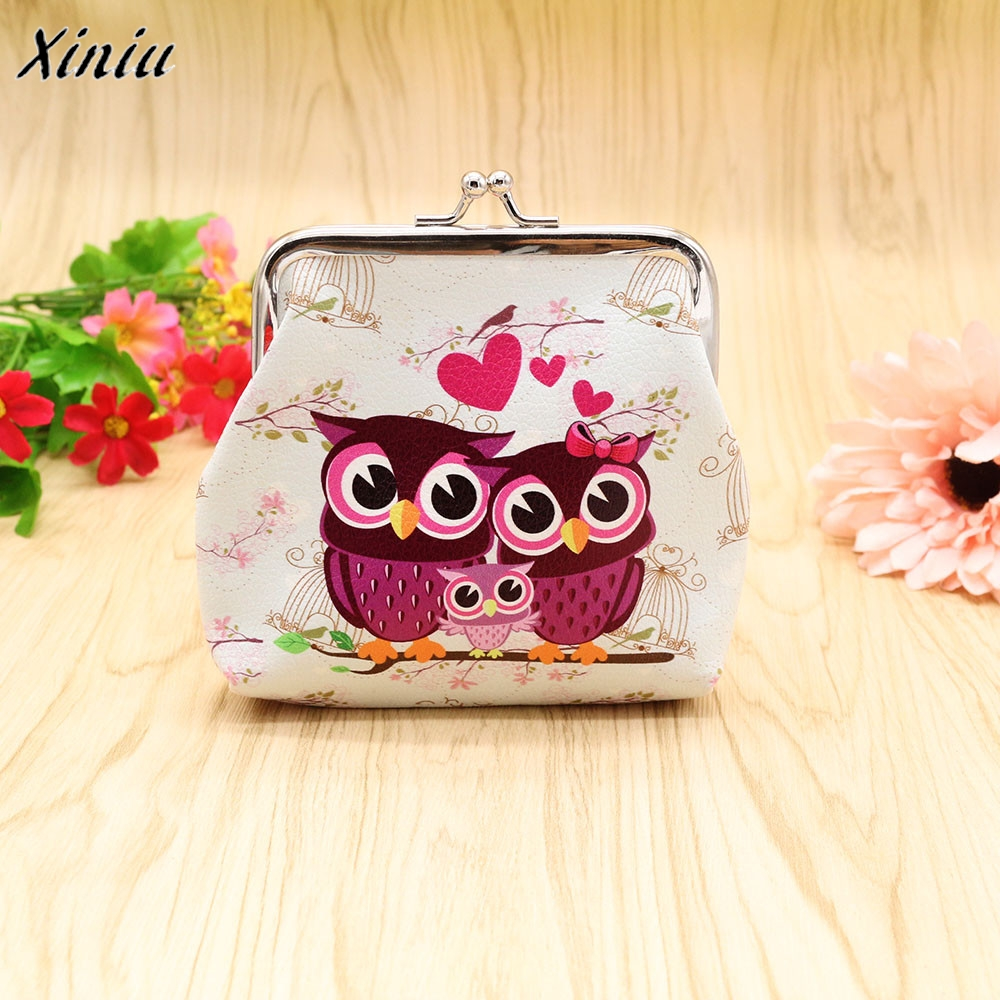 Excellent Quality Women Coin Purse Owl Printing Lady Change Purse Patent Leather Coin Wallet Female Money Bag Mini Wallet Gift
