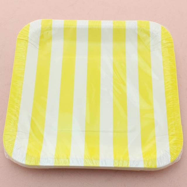 7  Square Paper Plates Party Supplies Yellow Striped Paper Plates for Wedding Birthday  sc 1 st  AliExpress.com & Aliexpress.com : Buy 7