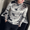 Fashion 2018 New T-Shirt Men Brand Autumn Winter Warm Casual Long Sleeve High Collar Print Gentlemen Tops&Tees 3XL